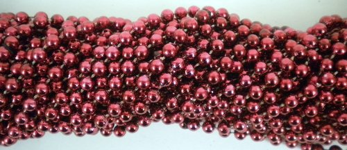 33 inch 07mm Round Metallic Burgundy Mardi Gras Beads - 6 Dozen (72 necklaces)
