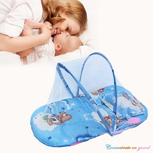 buy OurWarm New Infants Portable Baby Bed Crib Folding Mosquito Net Infant Cushion Mattress With Pillow Blue for sale