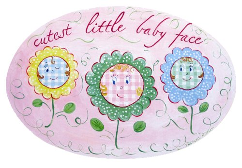 The Kids Room by Stupell Cutest Little Baby Face with Flowers Oval Wall Plaque