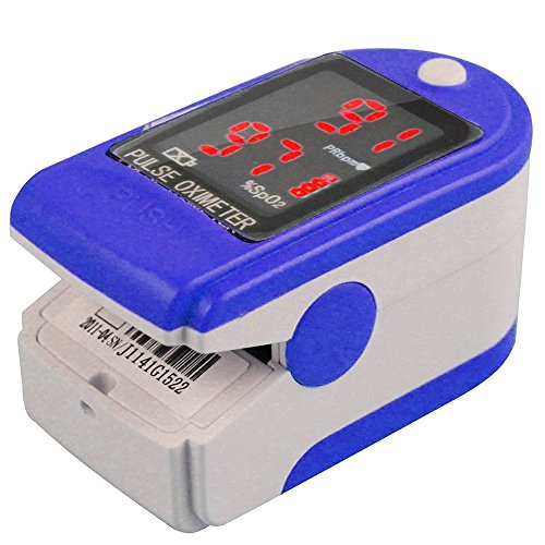 CMS 50-DL Pulse Oximeter Blue Finger Tip Blood OXygen OX SpO2 Digital LED Monitor Display Portable for Athletes Pilots Sports Exercise with Soft Carrying Case and Landyard (Nellcor Pulse Oxygen Sensor compare prices)