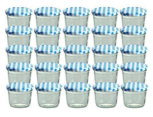 Cap+CroTo 82 Lot de 25 bocaux en verre pour conservation de confiture Couvercles bleus à carreaux Capacité 230 ml