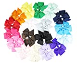 "Ship From USA--HipGirl Boutique Girls 4""-4.5"" Large Grosgrain Ribbon Pinwheel Hair Bow Clips, Barrettes (18pc 4.5"" Solid Everyday Pinwheel Bows)"
