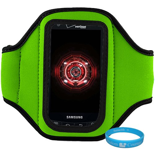 Green Neoprene Protective Exercise Workout Armband For Samsung Droid Charge 4G Lte Verizon Wireless Android Smartphone + Sumaclife Tm Wisdom Couarge Wristband