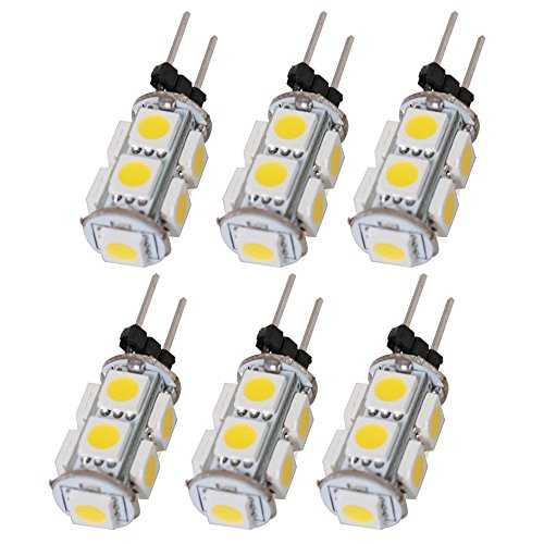 Arlybaba 6 Pack (6 Pcs/Lot) G4 Type 9 Led (8+1) Light Bulb Lamp 1.8 Watt Halogen Bulbs Ac Dc 12V Warm White Color Undimmable 5050 Emitter Quivalent To 12W Incandescent Bulb Replacement