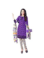 Sky Fashions Women's Multi Cotton Top Un-stiched Salwar Suit (SYFW0033)