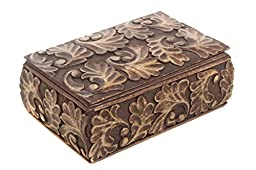 Rakhi Gift for Sister Homey Keepsake Storage Box Jewelry Trinket Holder Organizer Strong Wood with Hand Carved Floral Patterns
