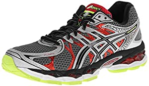 ASICS Men's Gel-Nimbus 16 Running Shoe,Titanium/Black/Red,9 M US