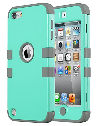 iPod Touch 6 Case,iPod Touch 5 Case ,ULAK [Colorful Series] 3 in 1 Hard PC+Soft Silicone Hybrid Dust Scratch Shock Resistance Anti-slip Cover for iPod touch 5 6th Gen(Aqua Mint/Grey) (Colorful Ipod Touch Cases compare prices)