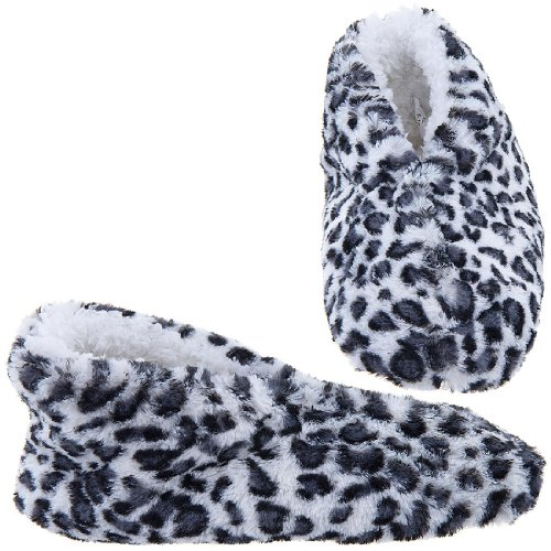 Cheap GMI Snuggle Feet White Leopard Slippers for Women (B009TH4BIW)