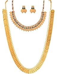 Awww Red Gold-Plated Coin Chain Long Necklace , Short Chain Necklace With Stud Earring Set For Women