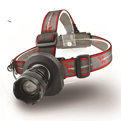 Xtreme Bright Safety Headlamp, Black-Red Flashing Light on Back. Perfect Automotive Spot Light, Great Addition To Camping & Hiking Equipment. Ideal Reliable LED Flashlight Or Portable Work Light