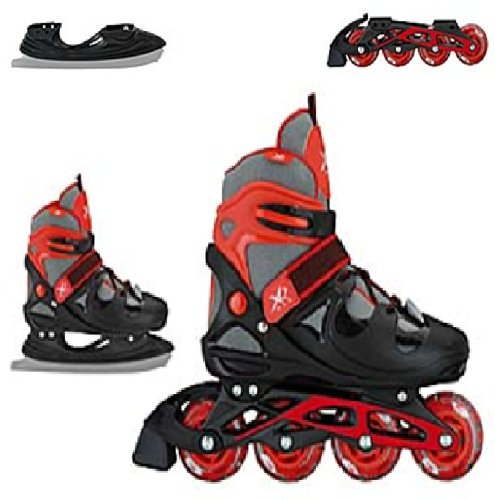 XQ MAX BOYS INLINE SKATES ROLLER ICE SKATING BOOTS TRANSFORMER ADJUSTABLE SHOES RED BLACK (SMALL)