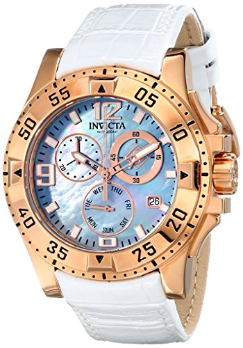 Invicta Excursion Women's Quartz Watch with Mother Of Pearl Dial  Chronograph display on White Leather Strap 16100