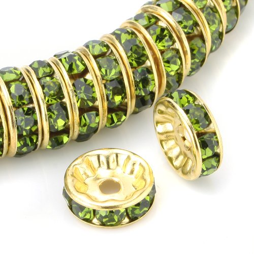 Beadnova 100 Pcs Gold Plated Crystal Rondelle Spacer Beads 8Mm (#228 Olivine)