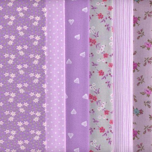6 Fat Quarters Set (Lavender) Co-ordinating French Fabric Mini Designs 100% Cotton