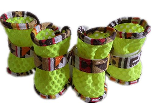 pet scarpe primavera estate morbida robusto antiscivolo accogliente velcro resistente all'usura maglia stivali cane traspirante 4 pezzi (dimensioni 1-5) , green , 5