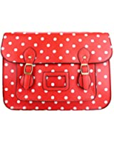 Miss Lulu Brand Vintage Designer Polka Dot Faux Leather Work Briefcase Satchel Bag School Bag