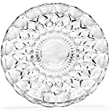 """Circleware CG Society Set of 4 Legacy Collection Italian Cut Fancy Clear Glass Dessert Plates/platter, 7.5""""D"""