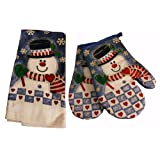 Charming Christmas Kitchen Towel & 2x Oven Mitts Set, Snowman Designby Icebenice