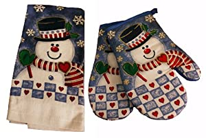 Charming Christmas Kitchen Towel & 2x Oven Mitts Set, Snowman Design