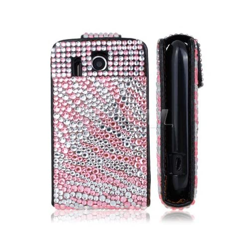 Ecell   BABY PINK ZEBRA LEATHER BLING FLIP CASE FOR HTC EXPLORER