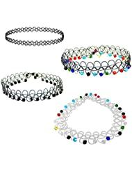 Choker Necklace Combo – Simple + Black Beads + Colourful Beads + White Choker With Colourful Beads – Set Of 4...