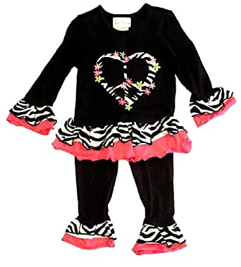 Rare Editions, 2-piece Dress Jumper and Leggings - Zebra Print Trim Outfit, Size: 2T