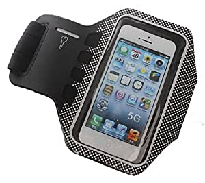 iPhone 5 Sports Case Armband Cover - Band Also Fits iPhone 3/4/5/5S/5C and iPod 5thGen Touch - Black Neoprene Sweatproof Holder for Your Apple Phone - Cool Waterproof Sports Band - For all Running Girls and Guys, Men and Women - Cute Unique Band Design - AT&T Verizon Sprint - Free Training Tips Bonus Included - Protect Your Investment - Best Lifetime Guarantee