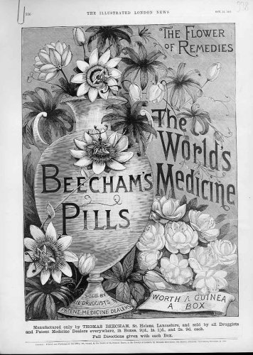 Flower Of Remedies Antique Advertisment Beecham Pills