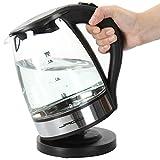 Jago Wasserkocher mit LED-Beleuchtung, 1,7 L Volumen und einer Litermarkierung im Edlen Glaslook -