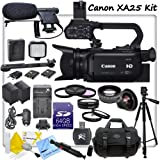 Canon XA25 Professional HD Camcorder With CS Pro Kit: Includes Boom Microphone, LED Video Light With 2 Lithium Batteries, 2 Canon BP827 Replacement Batteries, Rapid Travel Charger, 64GB SDXC Memory Card, SD Card Reader, High Definition Wide Angle Lens, Telephoto HD Lens, 3 Piece Professional Filter Kit, 4 Piece Macro Close Up Set, Full Size Aluminum Tripo With Case, Lens Pen, Starters Kit, Weather Resistant Carrying Case & CS Microfiber Cleaning Cloth