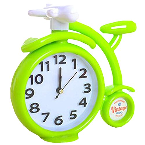 Retro Creative Bicycle Noiseless Alarm Clock Kids' Birthday Gift Green