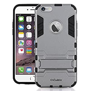 Cubix Robot Series Case Cover for Apple iPhone 6S Plus (Grey) Scratch Free Slim Hybrid Defender Bumper shock proof Case Cover With Stand