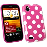Emartbuy � Htc Desire X Polka Dots Gel Skin Cover / Case Hot Pink / White