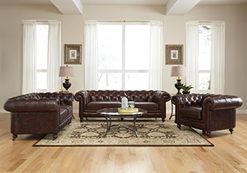 Leather Chesterfield Sofa in Antiqued Vintage Leather by Lazzaro 5503 Senator Collection 4