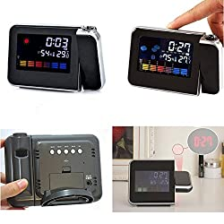 New Digital Weather LCD Multi-function Digital Projection Snooze Wake-up Alarm Clock Color Temperature & Calendar Display / LED Backlight