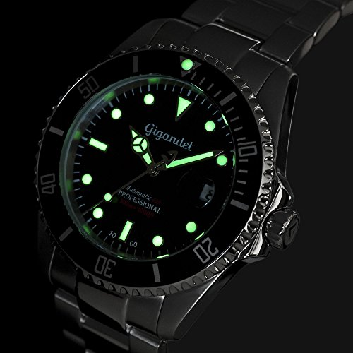 Gigandet Automatik Herren-Armbanduhr Sea Ground Taucheruhr Uhr Datum Analog Edelstahlarmband Schwarz Silber G2-002 5