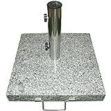 Sonnenschirmständer 25kg Granit Edelstahl eckig 45cm Schirmständer