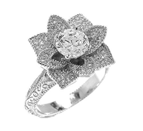 Blooming Lotus Flower Vintage Inspired Engagement Ring Size 7 (Floral Engagement Ring compare prices)