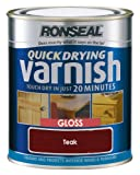 Ronseal QDVGT250 250ml Quick Dry Varnish Coloured Gloss - Teak