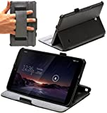 Navitech Black Bicast Leather Multi Stand Case / Cover With Hand Strap For The Vodafone Smart Tab 4G (Does not fit the WIFI only model)