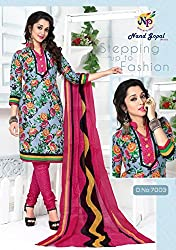 Balaji Fashion Women's cottan print suit D.NO7003_Multi-Coloured