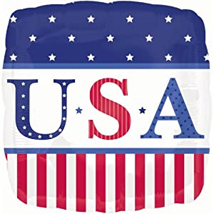 "American Classic Patriotic Usa Flag Square 18"" Mylar Balloon"