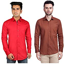 Nimegh Brown, Red Color Cotton Casual Slim fit Shirt For men's (Pack of 2)