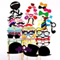 JUMUU Funny 58 piece DIY Kit for Wedding Party Reunions Birthdays Photobooth Dress-up Accessories & Party Favors, Costumes with Mustache on a stick, Hats, Glasses, Mouth, Bowler, Bowties