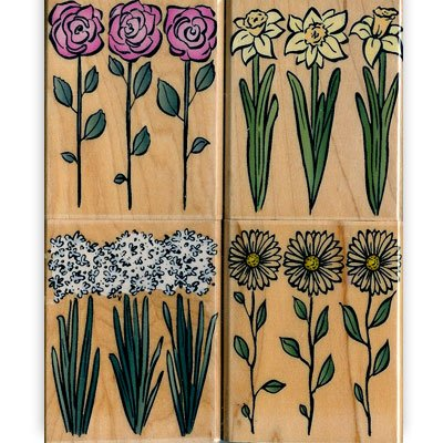 Trio of Flowers Wood Mounted Rubber Stamp Set (LL682)