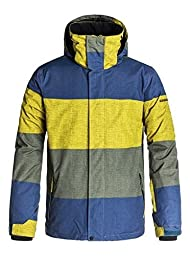 Quiksilver Mens QuiksilverTM Mission Printed Shell - Snowboard Jacket - Men - L - Blue Check Kasper Snow Dark Denim L