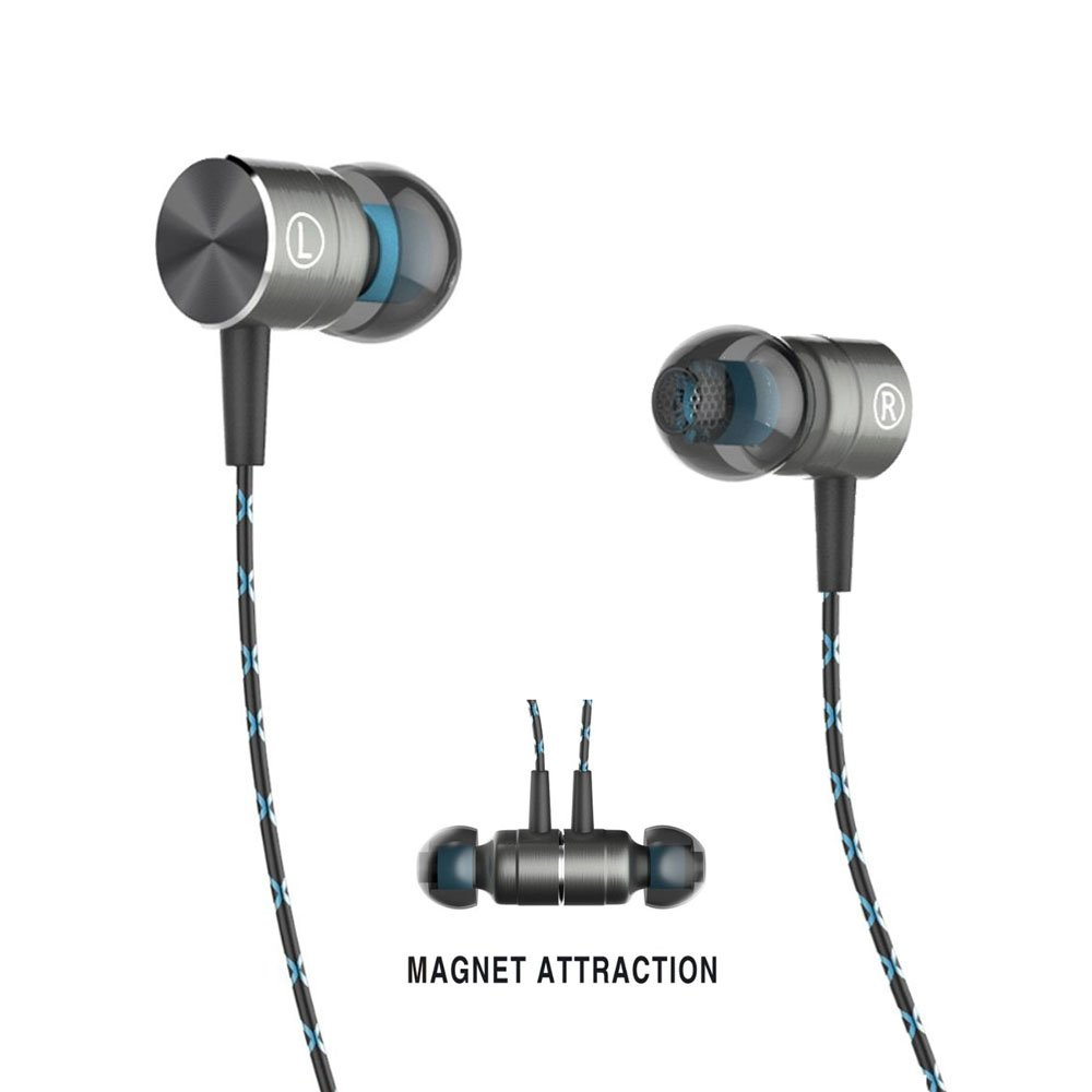 Headset,Magnet Attraction Sport In-Ear Earbuds Heaphones Earphones with Mic & Stereo Bass & Volume Control (Blue)