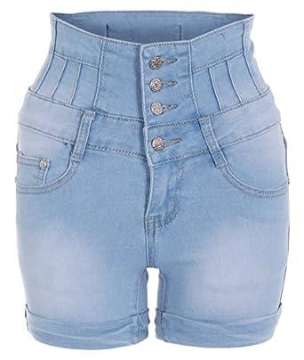 Womens Ladies High Waist Stretch Bleach Washed Denim Sexy Hot Pants Shorts Pants (Blue (bow detail),16)