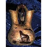 ANASAZI ANCIENT ONES NATIVE AMERICAN INDIAN COYOTE MOON SPIRIT PETROGLYPH PRIMITIVE DECOR LARGE DUAL SPOUT STORAGE JUG, Ancient Pueblo Anastazi Coyote Moon Mystic Spirit Vision Relic Gallery Style Decorative Pottery ~ INDIAN ROCK ART NATIVE...